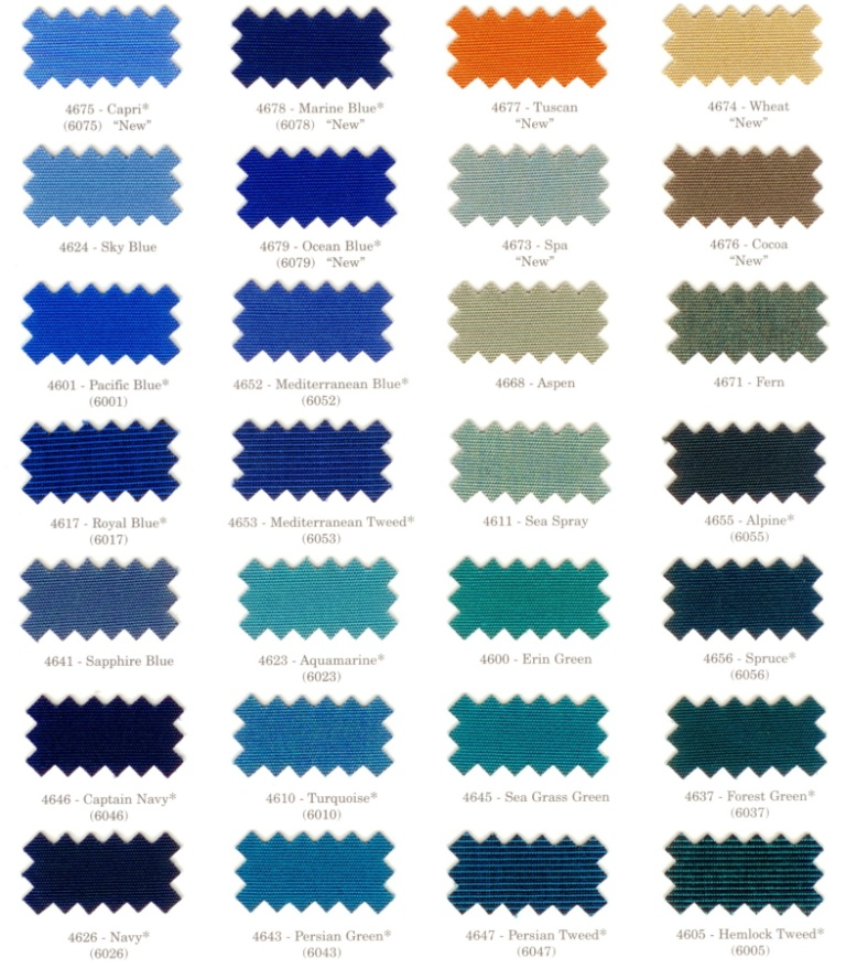 Carteret Canvas Company Color Swatches For Boat Cushions